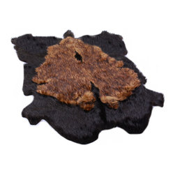 Fur Accents - Fur Accents Pelt Rug / Faux Fur Double Bear Skin / Unique Designer Carpet, 5x7 - A Truly Original Animal Themed Accent Rug. Rich and Silky Soft Faux Animal Pelt Carpet. Black Fur with Layered Brown Tone Fur Center. This is a Unique and Exclusive Fur Accents Design. Made from 100% Animal Free and Eco Friendly Fibers. Perfect for that special place. Supple Fur Layered and lined with fine parchment Ultra Suede. Luxury, Quality and Unique Style suitable for the most discriminating Designer / Decorator.