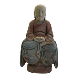 Golden Lotus - Chinese Wood Color Meditation Buddha Figure - This is a decorative Chinese meditation position Buddha figure made of wood and painted with fade accent color.