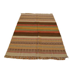 Hand Woven 100% Wool Flat Weave 4'X6' Colorful Striped Durie Kilim Rug SH6993 - Soumaks & Kilims are prominent Flat Woven Rugs.  Flat Woven Rugs are made by weaving wool onto a foundation of cotton warps on the loom.  The unique trait about these thin rugs is that they're reversible.  Pillows and Blankets can be made from Soumas & Kilims.