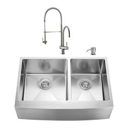 """VIGO Industries - VIGO All in One 33-inch Farmhouse Stainless Steel Double Bowl Kitchen Sink and F - Revitalize the look of your kitchen with a VIGO All in One Kitchen Set featuring a 33"""" Farmhouse - Apron Front sink, faucet, soap dispenser, two matching bottom grids and two strainers."""