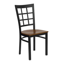 Flash Furniture - Hercules Series Black Window Back Metal Restaurant Chair with Cherry Wood Seat - Provide your customers with the ultimate dining experience by offering great food, service and attractive furnishings. This heavy duty commercial metal chair is ideal for Restaurants, Hotels, Bars, Lounges, and in the Home. Whether you are setting up a new facility or in need of a upgrade this attractive chair will complement any environment. This metal chair is lightweight and will make it easy to move around. For added comfort this chair is comfortably padded in vinyl upholstery. This easy to clean chair will complement any environment to fill the void in your decor.