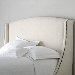 Bernhardt - Bernhardt Felix King Headboard - Complete the look of your bedroom decor with a go-with-anything camelback headboard in your choice of color. Select color when ordering. Handcrafted of select hardwoods; wood legs have a black finish. Wrapped in polyester with nailhead trim. Predril...