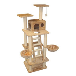 "MAJESTIC PET PRODUCTS - 72"" Casita Cat Tree - The perfect furniture piece for aspirational cats, this cat tree is covered in faux fur, with tempting rope-wrapped posts for aggressive scratchers. Your cat can climb a ladder to two nests and two high perches, and a fourth-story condo provides enclosed shelter. A dangly mouse adds even more excitement. Plus, it looks good in your living room. Easy to assemble."