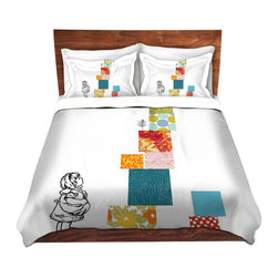 DiaNoche Designs - Duvet Cover Twill - Whoa - Lightweight and super soft brushed twill Duvet Cover sizes Twin, Queen, King.  This duvet is designed to wash upon arrival for maximum softness.   Each duvet starts by looming the fabric and cutting to the size ordered.  The Image is printed and your Duvet Cover is meticulously sewn together with ties in each corner and a concealed zip closure.  All in the USA!!  Poly top with a Cotton Poly underside.  Dye Sublimation printing permanently adheres the ink to the material for long life and durability. Printed top, cream colored bottom, Machine Washable, Product may vary slightly from image.