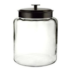 Anchor Hocking - 2gal Montana Jar w Metal Cover - Clear Glass 2 Gallon Montana Jar with Black Metal Cover.