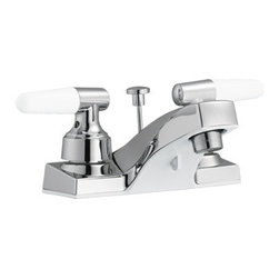 DHI-Corp - Aberdeen 4-Inch Lavatory Faucet, Polished Chrome - The Design House 525550 Aberdeen 4-Inch Lavatory Faucet features a dual handle design, 3-hole, 4-inch mount and all metal pop-up for sealing your drain. This faucet has an AB1953 platform hybrid body with ABS plastic handles. Finished in polished chrome, this faucet's classic appeal and petite design accent any bathroom. Washerless construction reduces leakage problems that can result from worn washers, while the simple design aids in low-maintenance upkeep. With the Water Sense label, this faucet is a water-efficient product and certified to meet EPA Water Sense criteria for efficiency and performance. The 1.3-gallon per minute flow rate ensures a steady water flow after years of everyday use and the spout extends 3.8-inches which leaves plenty of room for washing your hands. This faucet has a quarter turn stop lever handle operation and is UPC, ADA, lead-free and cUPC compliant. The Design House 525550 Aberdeen 4-Inch Lavatory Faucet comes with a lifetime limited warranty that protects against defects in materials and workmanship. Design House offers products in multiple home decor categories including lighting, ceiling fans, hardware and plumbing products. With years of hands-on experience, Design House understands every aspect of the home decor industry, and devotes itself to providing quality products across the home decor spectrum. Providing value to their customers, Design House uses industry leading merchandising solutions and innovative programs. Design House is committed to providing high quality products for your home improvement projects.