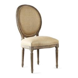 Medallion Side Chair - Limed Grey Oak with Hemp Linen - Create beautifully symmetrical displays or intimate little corners with ease when you add the Medallion Side Chair to your seating.  A sturdy current production which draws on the neo-Classical details of graceful old-world furniture, the upholstered accent chair has a tailored seat and a handsome cameo back with supports that form a sleek continuous line into fluted rear legs.