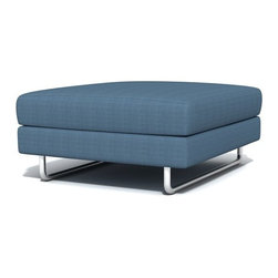 TrueModern - TrueModern Hamlin Calvin Sea Blue Ottoman - Features: Calvin Sea Blue finish / Textured, 100% polyester fabric / Medium density cushion / Classic baseball stitching / Brushed nickel, steel tube legs.
