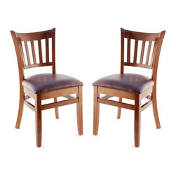 Seating Masters - US Made Vertical Slat Chair- Set of 2 (Walnut), Wine Vinyl Seat - The Premium Wood Ladder Back Chair offers a traditional design which will be sure to provide your customers with the comfort they desire.