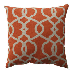 Pillow Perfect - Lattice Damask Coral, Beige Pillow - - Pillow Perfect Lattice Damask Tangerine 16.5-inch Throw Pillow  - Sewn Seam Closure  - Spot Clean Only  - Finish/Color: Coral/Beige  - Product Width: 16.5  - Product Depth: 16.5  - Product Height: 5  - Product Weight: 1  - Material Textile: 100% Cotton  - Material Fill: 100% Recycled Virgin Polyester Fill Pillow Perfect - 512792