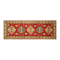 Manhattan Rugs - New HQ Wool Super Kazak 2x6 Pure Red Veg Dyed Hand Knotted Diamond Cut Rug H5870 - Kazak (Kazakh, Kasak, Gazakh, Qazax). The most used spelling today is Qazax but rug people use Kazak so I generally do as well.The areas known as Kazakstan, Chechenya and Shirvan respectively are situated north of  Iran and Afghanistan and to the east of the Caspian sea and are all new Soviet republics.   These rugs are woven by settled Armenians as well as nomadic Kurds, Georgians, Azerbaijanis and Lurs.  Many of the people of Turkoman origin fled to Pakistan when the Russians invaded Afghanistan and most of the rugs are woven close to Peshawar on the Afghan-Pakistan border.There are many design influences and consequently a large variety of motifs of various medallions, diamonds, latch-hooked zig-zags and other geometric shapes.  However, it is the wonderful colours used with rich reds, blues, yellows and greens which make them stand out from other rugs.  The ability of the Caucasian weaver to use dramatic colours and patterns is unequalled in the rug weaving world.  Very hard-wearing rugs as well as being very collectable