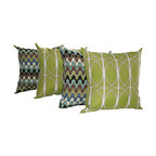 Land of Pillows - Nivala Monson and Richloom Maxfield Leaf Green Outdoor Throw Pillow - Set of 4 - Both fabrics display a mesmerizing, complementary pattern. The undulating waves of earth tones adorn the Missoni-like pattern. The circular looping lines silohoutte over a leaf green base on the other. Combine them both and you have vibrant and  eclectic accents for your home.
