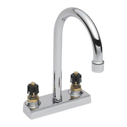 American Standard - Heritage Centerset Gooseneck Bathroom Faucet Less Handles with Grid Drain in Pol - American Standard 7402.000.002 Heritage Centerset Gooseneck Bathroom Faucet Less Handles with Grid Drain in Polished Chrome . With its crisp, clean lines, the American Standard Heritage 4 in. Center-Set 2-Handle High-Arc Bathroom Faucet in Polished Chrome with Grid Drain is designed to lend a touch of traditional style to your bathroom. This chrome-plated faucet incorporates a rigid gooseneck spout with a high-arc design and features a WaterSense-certified flow rate to promote water conservation. Match this faucet with your existing Townsend and Heritage fixtures (sold separately) for a coordinated look.American Standard 7402.000.002 Heritage Centerset Gooseneck Bathroom Faucet Less Handles with Grid Drain in Polished Chrome, Features:2-handle design for easy operation (handles, part numbers 0000.172h, 0000.172v, 0000.142h and 0000.142v, sold separately)