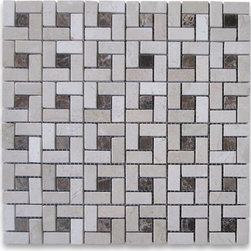 "Stone Center Corp - Crema Marfil Target Pinwheel Mosaic Tile Emperador Dark Dots Polished - Crema Marfil Marble 9/16x1 3/16"" rectangle pieces and Emperador Dark 9/16"" dots mounted on 12x12"" sturdy mesh tile sheet"