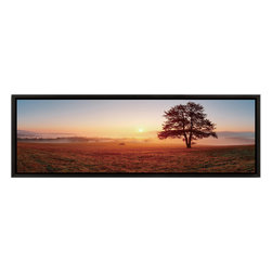 Elementem - Sunset On The Prairie Print - Sunset on the Prairie is a beautiful sunset scene from the middle of the American heartland.  The scene's vibrant colors, and the contrast between the single, setting sun, and the single tree in the foreground, create an powerful feeling.  Printed on vinyl, laminated, and mounted onto MDF, the print comes already attached to an exquisite frame, and takes minutes to hang.
