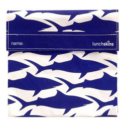 Lunch Skins - Lunchskins Sandwich Bag in Navy Shark - If you were going to sink your jaws into a tasty sandwich, what would you want it to contain? While you may say cheese, ham, tomatoes, mayo, jalapenos or even sprouts, you're not likely to want plastic toxins lurking between the bread! With the Lunchskins