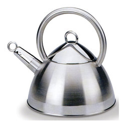Cuisinox - Cuisinox 2.4 Qt Whistling Kettle - This trendy kettle is durable enough to withstand the rigors of everyday stovetop use. Made of durable stainless steel in a two-toned finish with a 3-ply base. A polite whistle will indicate that the water has reached boiling point.