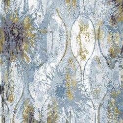 Vintage Collection - Handmade Indian wool and silk rug . Silk raised texture with water colored effect.