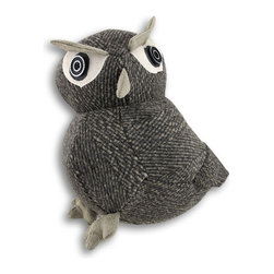 """Zeckos - Gray Fabric Tweed Look Owl Door Stop - This adorable gray tweed owl is the perfect little helper it's weighted just enough to hold back the draft, or to prop the door open to feel the blowing breeze of fresh air It is made of heavy duty polyester-wool blend materials, and filled with polyester and sand. It's a great alternative to plastic or metal doorstops It measures 10 inches high, 9 inches long and 5 1/2 inches wide. This owl easily blends with any decor, and makes a """"hoot"""" of a housewarming gift"""