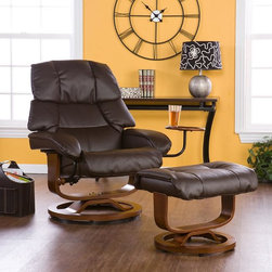 Upton Home - Francis Brown Leather Recliner and Ottoman Set - Relax in style and extreme comfort in this ergonomic brown leather recliner and ottoman. It has a mechanism glide system with a position lock and 360-degree swivel. It is made from bonded leather and comes with an accessory side table.