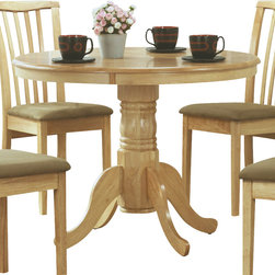Monarch Specialties - Monarch Specialties 1460 Round Pedestal Dining Table in Natural - Create a casual fashion statement in your dining area with this round pedestal dining table. This natural colored table features a waterfall profile and is anchored down by a sturdy turned pedestal base with scroll detailing.