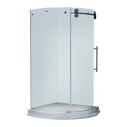 Vigo - 40 x 40 Frameless 5/16in.  Frosted/Stainless Steel Shower Enclosure Right-Sided - Make your bathroom an oasis with a Vigo frameless round shower enclosure.