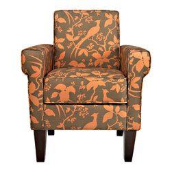 PORTFOLIO - Portfolio Xandra Brown Bird Branch Chair - The Xandra chair is part of the Portfolio Collection. The Xandra chair has squared arms and is covered in a branch and bird design on a linen-like fabric.
