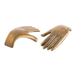Arteriors - Garnet Sculptures, Set of 2 - These simple stylized cast aluminum hands finished in antique brass can be used as a paper weight or displayed on a coffee table or bookcase.