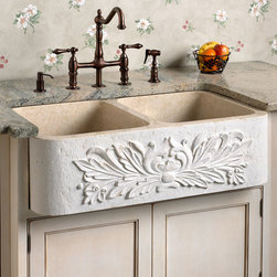 "33"" Ivy Double-Bowl Polished Marble Farmhouse Sink - Cream Egyptian - The natural beauty of this marble farmhouse sink is accentuated by the carved ivy pattern on its apron front. This handcrafted basin will add a down-to-earth elegance to any kitchen."