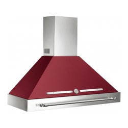 """Bertazzoni - KC48 HER VI 48"""" Required Island Canopy for K48HERX Hood in Vino - Matching the 48 Heritage design this hood ventilation system with mesh filters has a base assembly in stainless steel and canopy in matching color There are three settings for different extraction levels Two halogen lights give bright worktop illumin..."""