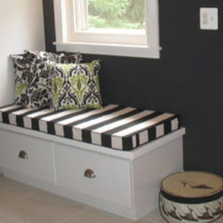 "Mudroom and Storage Bench Cushions - Customer Photo | ""The bold black & white striped window seat cushion is inviting and practical, and makes a perfect finishing touch to this dramatic bathroom remodel."""