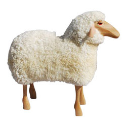 EcoFirstArt - Sheep Stool - A sheep buddy for your playroom or eclectic office space. Imagine a German crafted, wood, leather and real sheepskin stool to warm your tush on a cold winter day. Built with organic and sustainable materials, this ecofriendly friend is baa baa beauteous and full of personality.