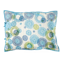 "Rhadi Living - Medallion Pillow Sham 20x26"" Blue/Green - Give your bedroom an exotic touch by covering your pillow with this handmade cotton sham. The cheerful hand printed design is inspired by medallion block prints, creating a well traveled feel in your room. Machine wash cold separately, delicate cycle, tumble dry low. Do not bleach. Iron at medium setting if necessary."