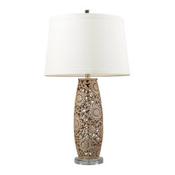 Dimond Lighting - Dimond Lighting D2261 Maria Single-Light Table Lamp, in Golden Pearl Finish - Delicate filigree work with a golden pearl finish catches the eye on this handsome table lamp from the Maria Collection.Features: