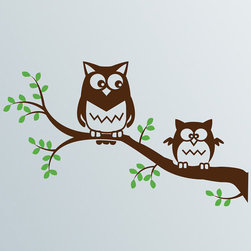 Cherry Walls - Owls on a Branch Nursery Decal - While your little one sleeps or plays, two friendly owls keep watch. Made of ultra-thin, high-quality vinyl, these decals go on smoothly and give a polished, design studio look.