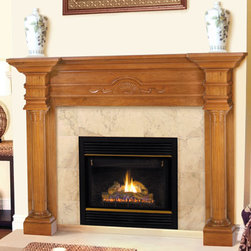 Claiborne Fireplace Mantel - The Claiborne Fireplace Mantel features extra large shelves over fluted columns and a central hand carved fan motif.