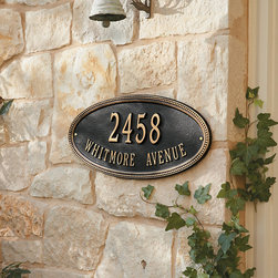 """Ballard Designs - Beaded Oval Two Line Wall Address Sign - For One Line Oval, Specify up to five 4"""" numbers. For Two Line Oval, Specify up to five 3"""" numbers for top line, up to seventeen 1 1/4"""" characters for bottom line. *Please note that personalized items are non-returnable and non-cancelable."""