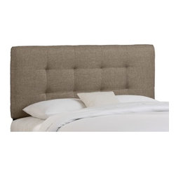 """Skyline Furniture - Button Tufted Upholstered Headboard - This button tufted headboard will lend your bedroom a comfortable casual look. It is manufactured with a sturdy solid pine frame. Features: -Groupie style.-This button tufted headboard makes a great addition to any bed in your home. .-Spot clean only.-Made in the USA.-Solid wood construction.-Button Tufted collection.-Gloss Finish: No.-Frame Material: Pine wood.-Upholstered: Yes.-Upholstery Material: 65% polyester blend /35% viscose.-Hardware Material: Steel.-Wall Mounted: No.-Reversible: No.-Media Outlet Hole: No.-Built In Outlets: No.-Hardware Finish: Black metal.-Finished Back: No.-Distressed: No.-Hidden Storage: No.-Freestanding: No.-Frame Required: Yes.-Frame Included: No.-Drill Holes for Frame: Yes.-Frame Compatibility: Any standard bed frame.-Commercial Use: No.-Recycled Content: No.Specifications: -EPP Compliant: No.-CPSIA or CPSC Compliant: Yes.-CARB Compliant: Yes.-JPMA Certified: No.-ASTM Certified: No.-ISTA 3A Certified: Yes.-PEFC Certified: No.-General Conformity Certificate: Yes.-Green Guard Certified: No.Dimensions: -Overall Product Weight (Size: California King): 40 lbs.-Overall Product Weight (Size: Full): 31 lbs.-Overall Product Weight (Size: King): 45 lbs.-Overall Product Weight (Size: Queen): 33 lbs.-Overall Product Weight (Size: Twin): 24 lbs.-Leg Height: 6"""".-Bottom of Headboard to Floor: 24"""".Assembly: -Assembly Required: Yes.-Tools Needed: Allen wrench, wrench.-Additional Parts Required: No.Warranty: -Skyline Furniture provides 1 year limited warranty (except fabric).-Product Warranty: 1 Year limited (Excludes fabric)."""