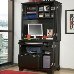 Home Styles - Bedford Compact Office Cabinet and Hutch - Features: -Compact office cabinet and hutch.-Framed doors and base molding add a touch of class to a transitional design.-Cabinet features full extension ball bearing drawer glides.-File drawer that accommodates legal and letter size.-Adjustable shelf on right can be removed to accommodate CPU.-Full wrap around double hinged doors on cabinet and hutch fold all the way back on sides.-Modular storage sections so you can create your own storage configuration.-Available in White or Ebony finish.-Solid poplar hardwood and engineered wood construction.-Brushed Nickel finish campaign hardware.-Bedford collection.-Collection: Bedford.-Distressed: No.Specifications: -Hutch features 3 wire management holes.Dimensions: -Keyboard / laptop tray dimensions: 1.75'' H x 32'' W x 15'' D.-Drawer dimensions: 10'' H x 21.25'' W x 18.5'' D.-Printer shelf dimensions: 8.25'' H x 23.25'' W x 20.75'' D.-Compartment dimensions: 18.5'' H x 9.75'' W x 21'' D.-Small storage drawer dimensions: 2.75'' H x 7.75'' W x 14.5'' D.-Two small 3 slotted pigeon hole organizer dimensions: 20.5'' H x 6.25'' W x 9.75'' D.-Three slot letter organizer dimensions: 12.5'' H x 13.25'' W x 11.75'' D.-One fixed shelf dimensions: 14'' H x 34'' W x 12'' D.-Hutch opening dimensions: 35.5'' H x 34'' W x 16.75'' D.-Overall hutch dimensions: 38'' H x 38'' W x 19.75'' D.-Overall Height - Top to Bottom: 70.-Overall Width - Side to Side: 70.-Overall Depth - Front to Back: 23.75.-Overall Product Weight: 248 lbs.