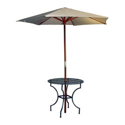 Pangaea Home and Garden - Iron Round Patio Table w 3 in. Umbrella Hole in Black - Includes four sets of nuts and bolts. Umbrella not included. Easily portable. Table has a 3 in. hole in the center to accommodate umbrella poles. Space saving off-season storage. Powder-coated for year round weather resistance. Enhances both small balconies and large patios/yards. Applicable for both indoor and outdoor use. Environment friendly. Made from recycled wrought iron. Minimal assembly required. 33 in. Dia. x 27 in. H