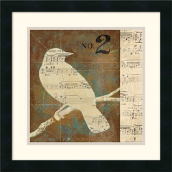 Amanti Art - Bird Silhouettes I Framed Print by D. Salusti - Salusti creates abstract works with a populist sensibility. This attractive collage combines music and nature for a tasteful nod to contemporary art.
