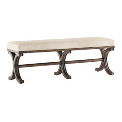 Carved X-Legs Accent Bench - Features: