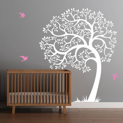 Cherry Walls - Singing Tree Nursery Decal - Take a bow ... and a bough! This gently bending tree decal is a clever way to add a touch of contemporary charm to a nursery or bedroom wall. With cheerful leaves and songbirds that complement any taste, you can feel proud of a decorating job well done.