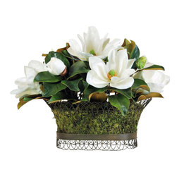 Winward Designs - Magnolia Wire Basket Flower Arrangement - Timeless magnolias are the grand dames of the flower world. Ours  in bright white  lend an enduring beauty to any room.