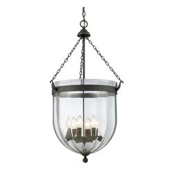 Z-Lite - Z-Lite 140-34 Warwick 6 Light Urn Pendant - For a traditional yet versatile look, this six light chandelier would be perfect for adding elegance to any space. The sculpted circular glass shades are suspended from a circular iron band, finished in bronze. Inside the shade are suspended candelabra lights, adding the finishing touch on an elegant fixture.Features: