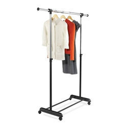 Expandable Garment Rack, Chrome/Black - Honey-Can-Do GAR-01124 Expandable Garment Rack, Chrome / Black.  The perfect solution for those that need extra hanging storage space, this attractive and functional garment rack is a nice addition to any laundry room, bedroom, or foyer. Sitting on smooth rolling casters, the rack moves easily from room to room. Features an adjustable hanging bar that raises to accommodate long dresses or coats and extends in width for extra hanging space. Use the convenient lower shelf for bags or shoe boxes. Some assembly required.