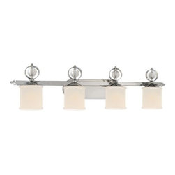 Golden Lighting - Golden Lighting 1030-BA4 Modern Four Light Bathroom Fixture from the Cerchi Coll - Modern Four Light Bathroom Fixture from the Cerchi CollectionThe Cerchi Four Light Bathroom Fixture provides sophisticated modern style at an affordable price.  Its polished chrome finish on metal frame with clear acrylic balls style beautifully with etched opal glass. Features