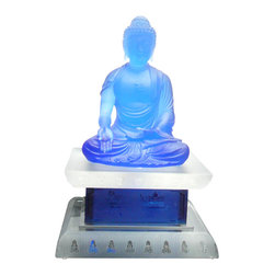 "Golden Lotus - Chinese Crystal Glass Liuli Pate-de-verre Blue Buddha Statue with Stand - Dimensions:   w8"" x d8"" x h13"""