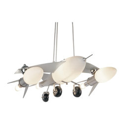 Trans Globe Lighting - Trans Globe Lighting KDL-852 Fighter Jet Airplane Modern / Contemporary Pendant - Fighter Jet Airplane replica drop pendant light. Height adjustable.  Takes 6 candelabra 40 watt bulbs. Lights up vented engine compartment and body.
