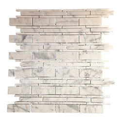 Honed Carrara Rectangle Field Tile - Honed Rectangle Carrara Marble Mosaic Tile.  This marble mosaic tile provides a number of design possibilities from contemporary to classic. It can be used for both commercial and residential settings.  We recommend it for kitchen backsplashes, bathroom floors and walls as well as wet areas (i.e. shower floors and walls).  The mesh backing not only simplifies installation, it also allows the tiles to bend and seperate easily. The tiles have a polished finish. The natural material will have some color variation.